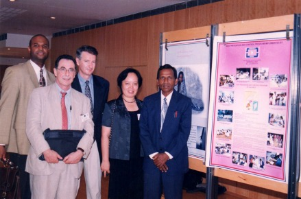 Mr.Parthiban the founder of SHAPE with Dr.Edward Vela - the then UNAIDS secretary and other medical professionals at an HIV/AIDS International Symposium - Paris