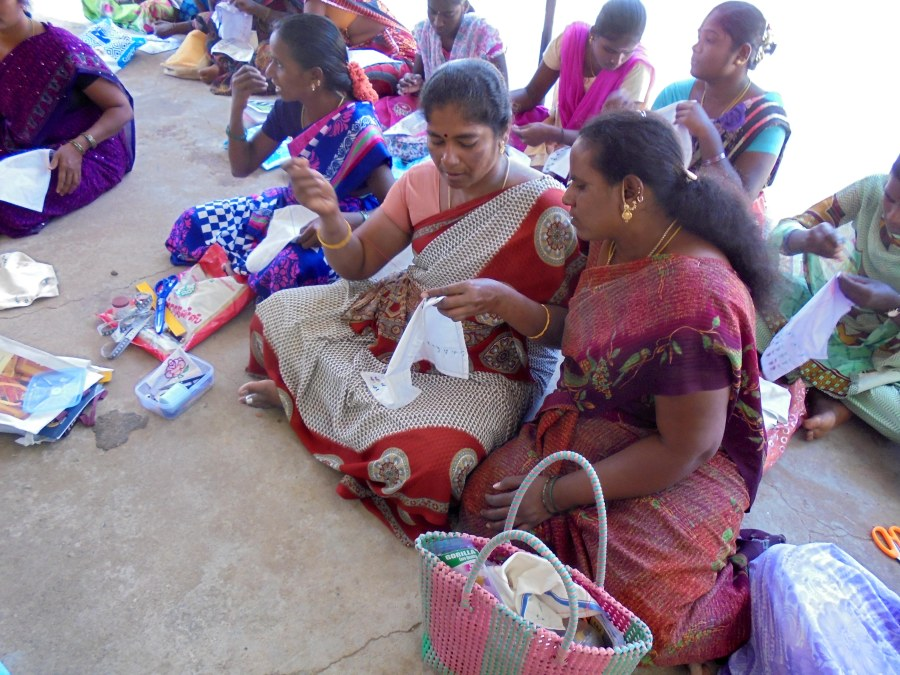 Women developing their embroidery skills