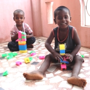 Children playing with their toys
